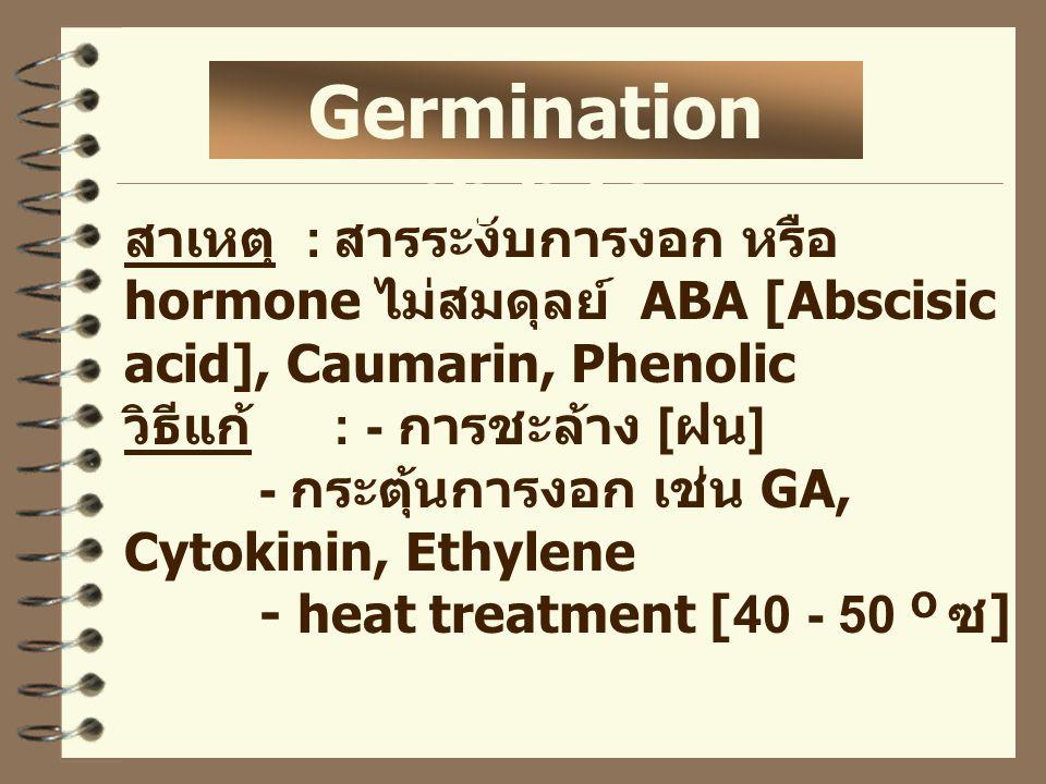 สาเหตุ : สารระงับการงอก หรือ hormone ไม่สมดุลย์ ABA [Abscisic acid], Caumarin, Phenolic วิธีแก้ : - การชะล้าง [ ฝน ] - กระตุ้นการงอก เช่น GA, Cytokinin, Ethylene - heat treatment [40 - 50 O ซ ] Germination inhibitor