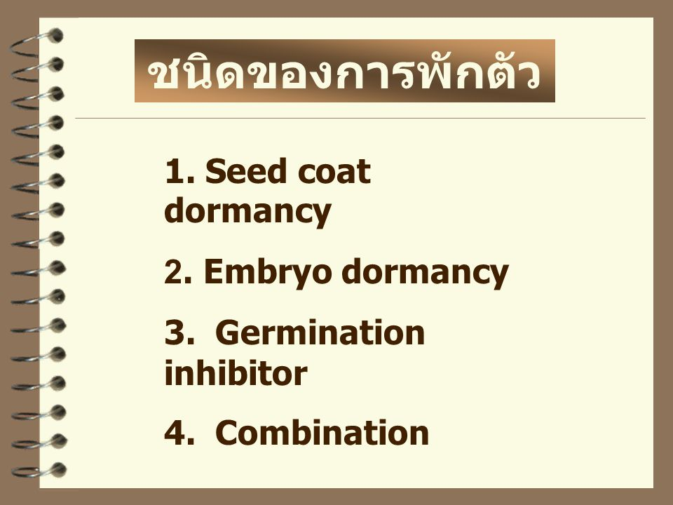 1. Seed coat dormancy 2. Embryo dormancy 3. Germination inhibitor 4. Combination ชนิดของการพักตัว