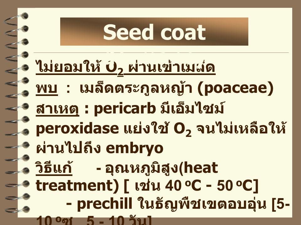 ไม่ยอมให้ O 2 ผ่านเข้าเมล็ด พบ : เมล็ดตระกูลหญ้า (poaceae) สาเหตุ : pericarb มีเอ็มไซม์ peroxidase แย่งใช้ O 2 จนไม่เหลือให้ ผ่านไปถึง embryo วิธีแก้ - อุณหภูมิสูง (heat treatment) [ เช่น 40 o C - 50 o C] - prechill ในธัญพืชเขตอบอุ่น [5- 10 o ซ 5 - 10 วัน ] - KNO 3 0.2 % Seed coat dormancy
