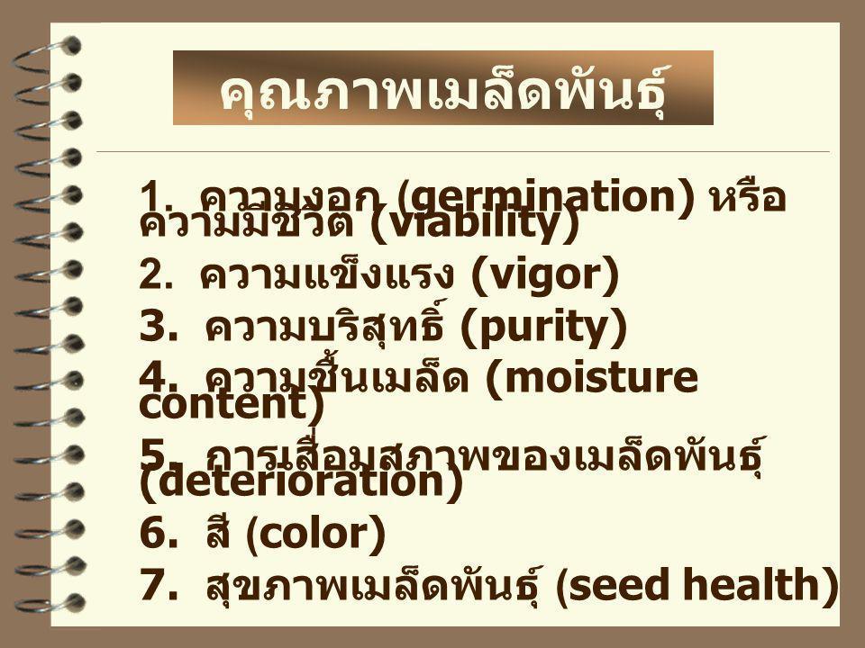 1. ความงอก (germination) หรือ ความมีชีวิต (viability) 2. ความแข็งแรง (vigor) 3. ความบริสุทธิ์ (purity) 4. ความชื้นเมล็ด (moisture content) 5. การเสื่อ