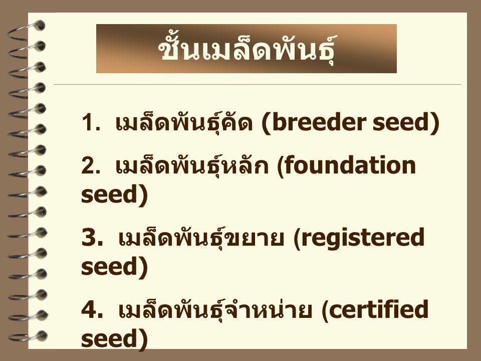1. เมล็ดพันธุ์คัด (breeder seed) 2. เมล็ดพันธุ์หลัก (foundation seed) 3. เมล็ดพันธุ์ขยาย (registered seed) 4. เมล็ดพันธุ์จำหน่าย (certified seed) ชั้น