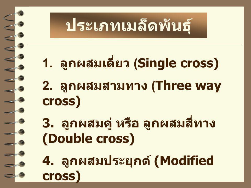 1. ลูกผสมเดี่ยว (Single cross) 2. ลูกผสมสามทาง (Three way cross) 3. ลูกผสมคู่ หรือ ลูกผสมสี่ทาง (Double cross) 4. ลูกผสมประยุกต์ (Modified cross) ประเ