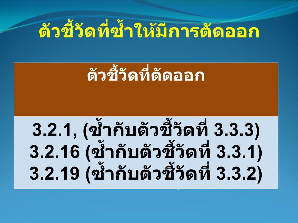 ตัวชี้วัดที่ซ้ำให้มีการตัดออก ตัวชี้วัดที่ตัดออก 3.2.1, ( ซ้ำกับตัวชี้วัดที่ 3.3.3) 3.2.16 ( ซ้ำกับตัวชี้วัดที่ 3.3.1) 3.2.19 ( ซ้ำกับตัวชี้วัดที่ 3.3.2)