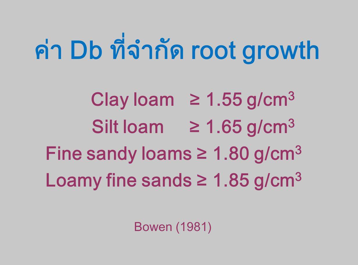 ค่า Db ที่จำกัด root growth Clay loam ≥ 1.55 g/cm 3 Silt loam ≥ 1.65 g/cm 3 Fine sandy loams ≥ 1.80 g/cm 3 Loamy fine sands ≥ 1.85 g/cm 3 Bowen (1981)