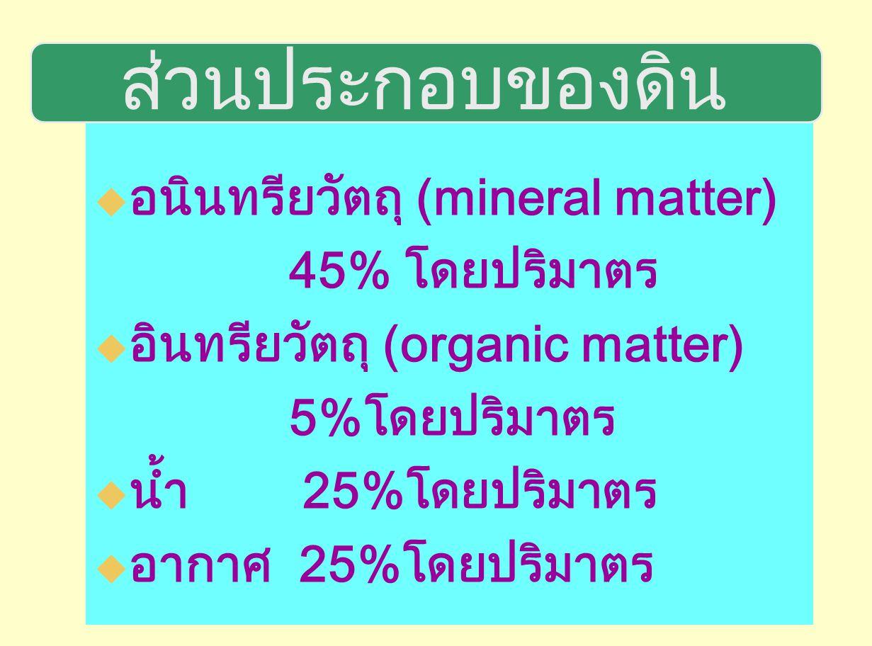 ลักษณะทางกายภาพของดิน เนื้อดิน(ขนาดของเม็ดดินหรืออนุภาคดิน ) ลักษณะโครงสร้างของดิน(รูปร่างของก้อนดิน) ความแน่นทึบหรือความพรุนของก้อนดิน ความสามารถในการอุ้มน้ำหรือดูดยึดน้ำของดิน อัตราการซาบซึมของน้ำในดิน สีของดิน ฯลฯ