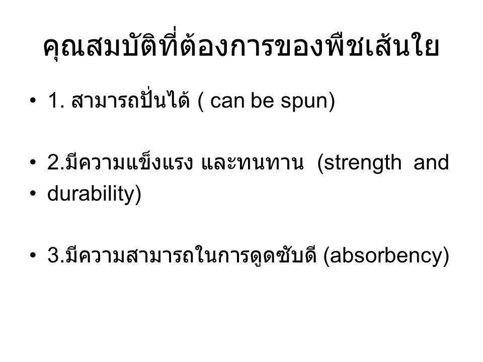 คุณสมบัติที่ต้องการของพืชเส้นใย 1. สามารถปั่นได้ ( can be spun) 2. มีความแข็งแรง และทนทาน (strength and durability) 3. มีความสามารถในการดูดซับดี (abso