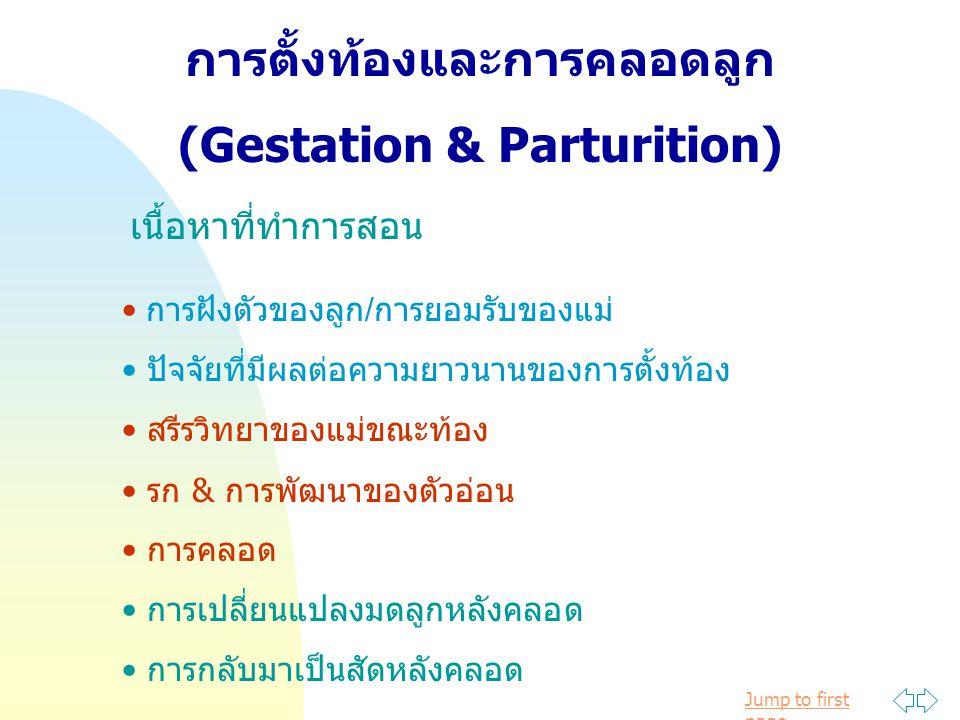 Jump to first page การตั้งท้องและการคลอดลูก (Gestation & Parturition) เนื้อหาที่ทำการสอน การฝังตัวของลูก/การยอมรับของแม่ ปัจจัยที่มีผลต่อความยาวนานของการตั้งท้อง สรีรวิทยาของแม่ขณะท้อง รก & การพัฒนาของตัวอ่อน การคลอด การเปลี่ยนแปลงมดลูกหลังคลอด การกลับมาเป็นสัดหลังคลอด