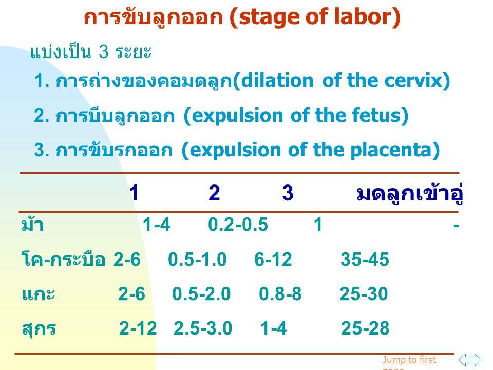 Jump to first page การขับลูกออก (stage of labor) แบ่งเป็น 3 ระยะ 1. การถ่างของคอมดลูก(dilation of the cervix) 2. การบีบลูกออก (expulsion of the fetus)