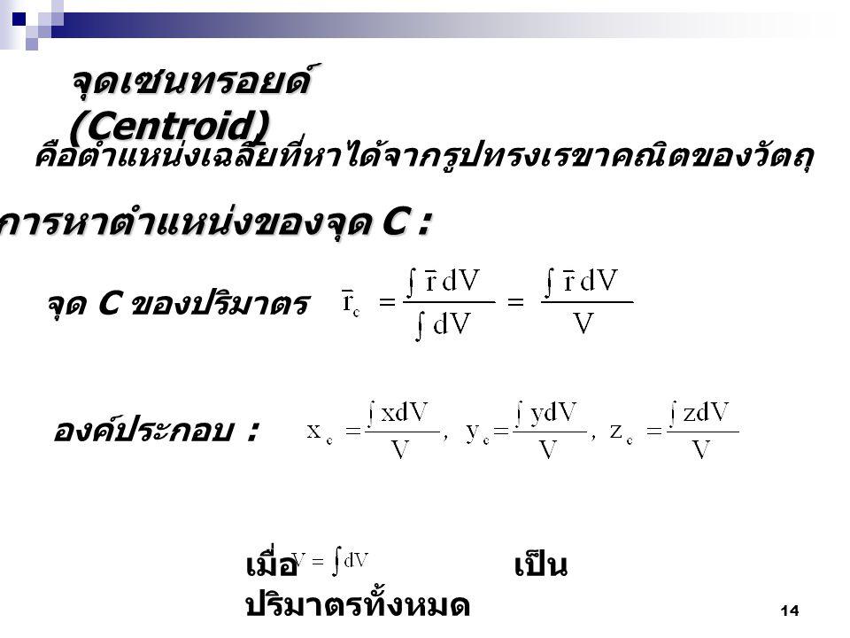 14 จุดเซนทรอยด์ (Centroid) จุด C ของปริมาตร คือตำแหน่งเฉลี่ยที่หาได้จากรูปทรงเรขาคณิตของวัตถุ การหาตำแหน่งของจุด C : องค์ประกอบ : เมื่อ เป็น ปริมาตรทั