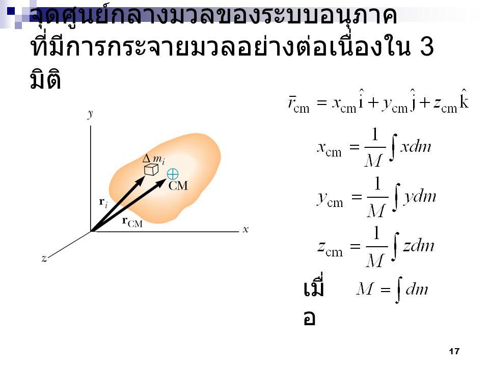 17 จุดศูนย์กลางมวลของระบบอนุภาค ที่มีการกระจายมวลอย่างต่อเนื่องใน 3 มิติ เมื่ อ