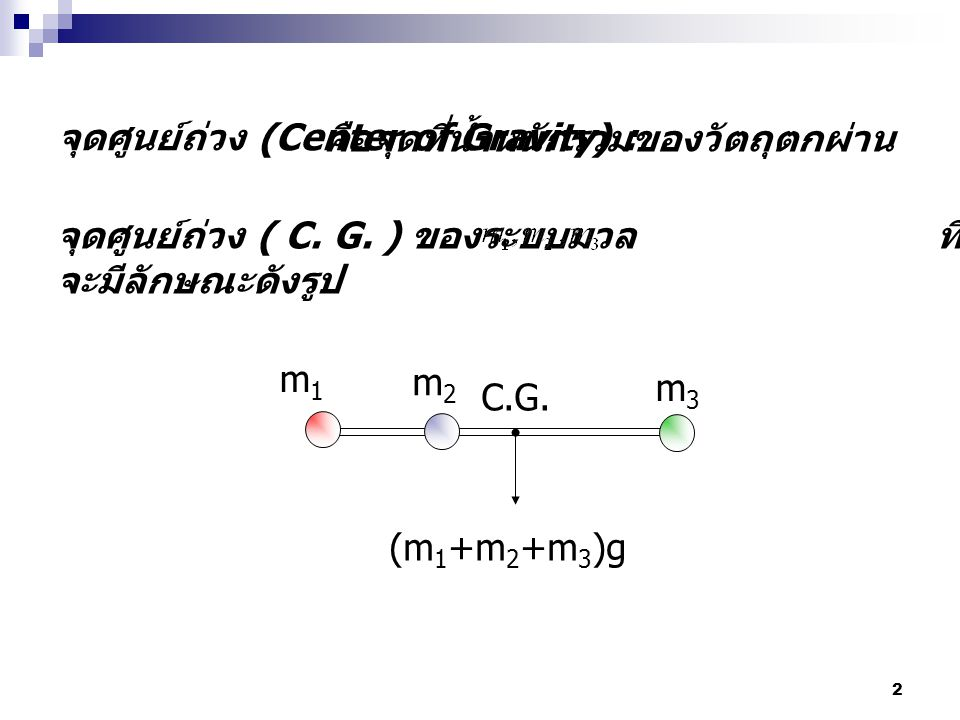 2 จุดศูนย์ถ่วง (Center of Gravity) : m1m1 m2m2 m3m3 (m 1 +m 2 +m 3 )g C.G. คือจุดที่น้ำหนักรวมของวัตถุตกผ่าน จุดศูนย์ถ่วง ( C. G. ) ของระบบมวล ที่ยึดต
