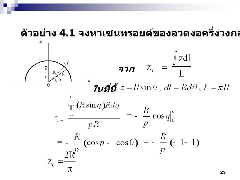 23 ตัวอย่าง 4.1 จงหาเซนทรอยด์ของลวดงอครึ่งวงกลมโดยการอินติเกรต จาก ในที่นี้