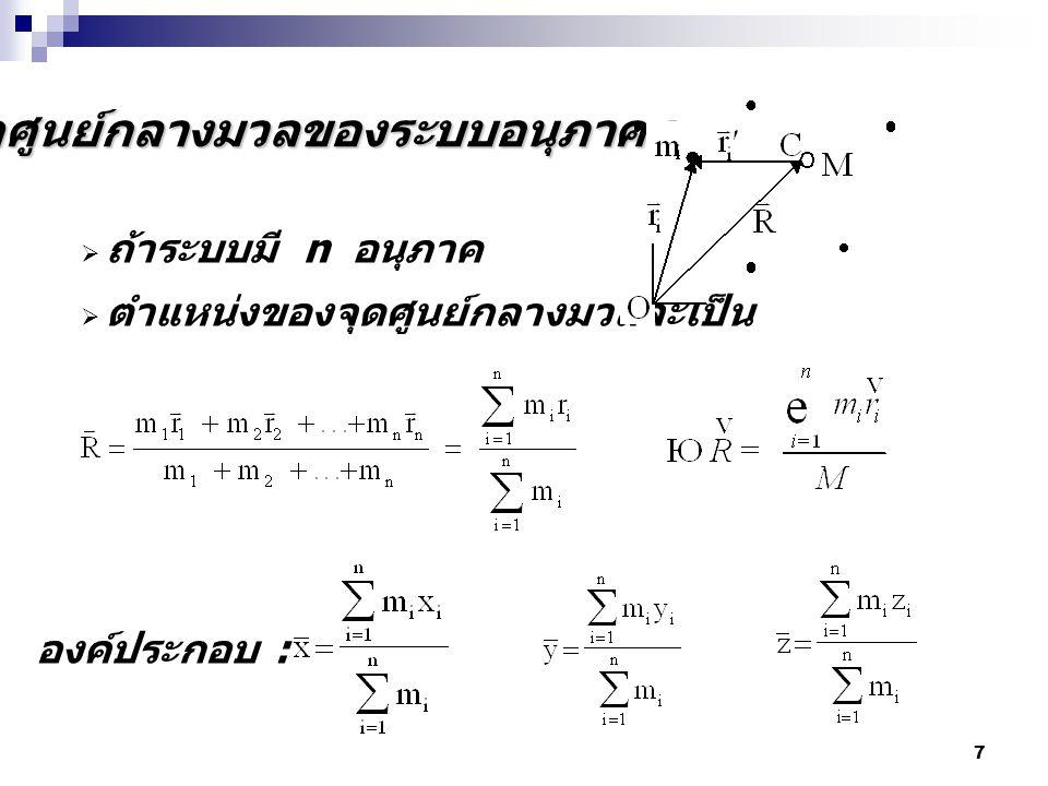 28 กฎการเคลื่อนที่ข้อที่สองของนิวตัน สำหรับระบบอนุภาค พิจารณาจุดศูนย์กลางของ ระบบในสามมิติ เมื่อหาอนุพันธ์เทียบกับ เวลา ความเร็วของ cm โมเมนตัมรวมของ ระบบอนุภาค
