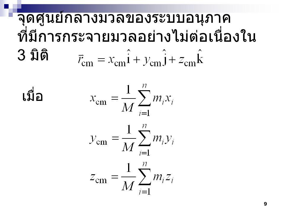 10 ตัวอย่าง ระบบหนึ่งประกอบด้วยอนุภาค สองอนุภาคมวล 2.0 kg และ 3.0 kg ห่างกัน 10.0 cm ดังแสดงในรูป จงหา จุดศูนย์กลางมวลของระบบสองอนุภาคนี้ 10.0 cm