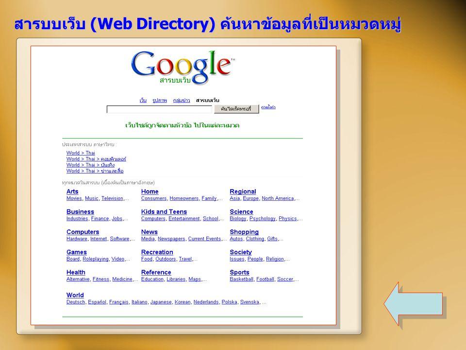 สารบบเว็บ (Web Directory) ค้นหาข้อมูลที่เป็นหมวดหมู่