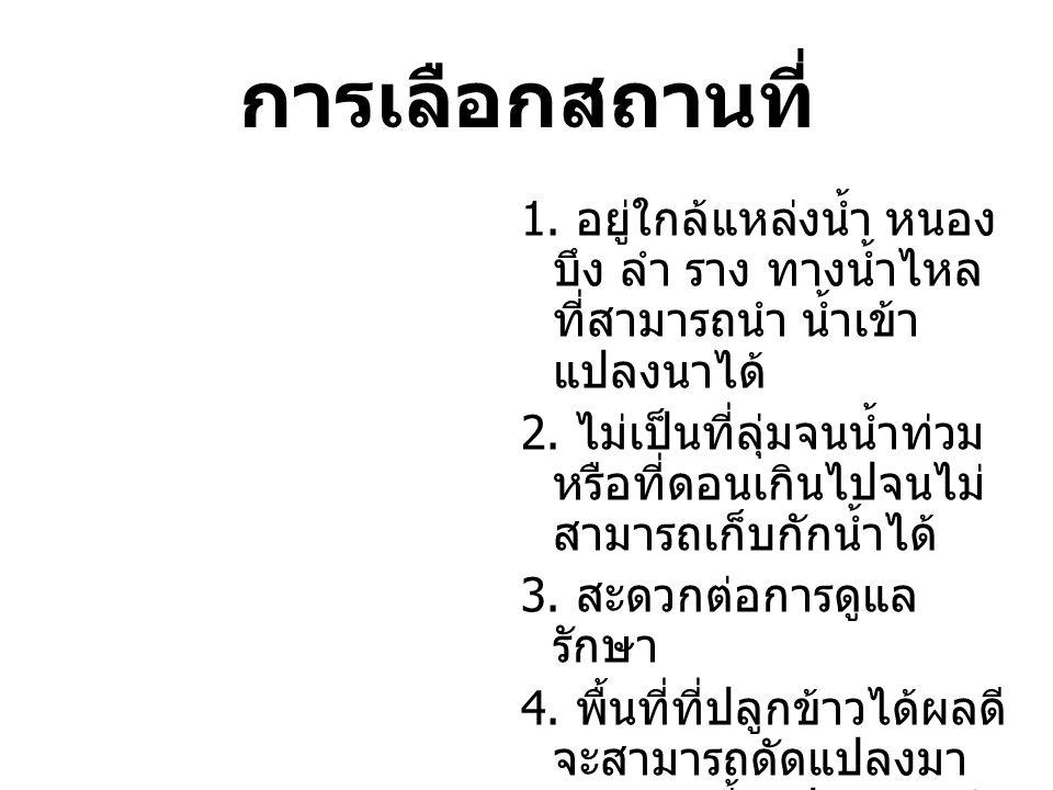 1. อยู่ใกล้แหล่งนํ้า หนอง บึง ลำ ราง ทางนํ้าไหล ที่สามารถนำ นํ้าเข้า แปลงนาได้ 2. ไม่เป็นที่ลุ่มจนนํ้าท่วม หรือที่ดอนเกินไปจนไม่ สามารถเก็บกักนํ้าได้