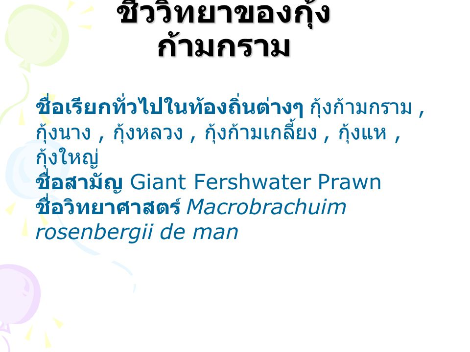 ชีววิทยาของกุ้ง ก้ามกราม ชื่อเรียกทั่วไปในท้องถิ่นต่างๆ กุ้งก้ามกราม, กุ้งนาง, กุ้งหลวง, กุ้งก้ามเกลี้ยง, กุ้งแห, กุ้งใหญ่ ชื่อสามัญ Giant Fershwater Prawn ชื่อวิทยาศาสตร์ Macrobrachuim rosenbergii de man
