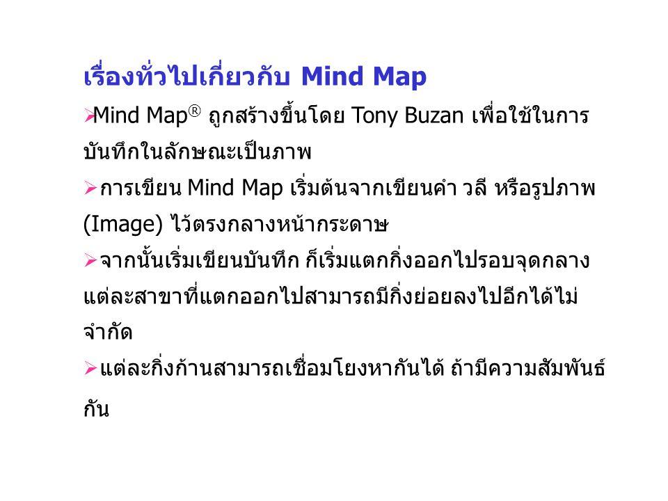 เรื่องทั่วไปเกี่ยวกับ Mind Map  Mind Map ® ถูกสร้างขึ้นโดย Tony Buzan เพื่อใช้ในการ บันทึกในลักษณะเป็นภาพ  การเขียน Mind Map เริ่มต้นจากเขียนคำ วลี หรือรูปภาพ (Image) ไว้ตรงกลางหน้ากระดาษ  จากนั้นเริ่มเขียนบันทึก ก็เริ่มแตกกิ่งออกไปรอบจุดกลาง แต่ละสาขาที่แตกออกไปสามารถมีกิ่งย่อยลงไปอีกได้ไม่ จำกัด  แต่ละกิ่งก้านสามารถเชื่อมโยงหากันได้ ถ้ามีความสัมพันธ์ กัน