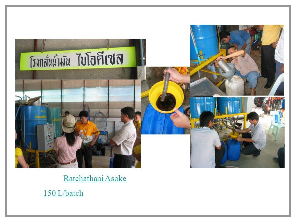 Other example of successful cases Prathom Asoke, Nakorn prathom, Thailand 150 L/batch, used cooking oil