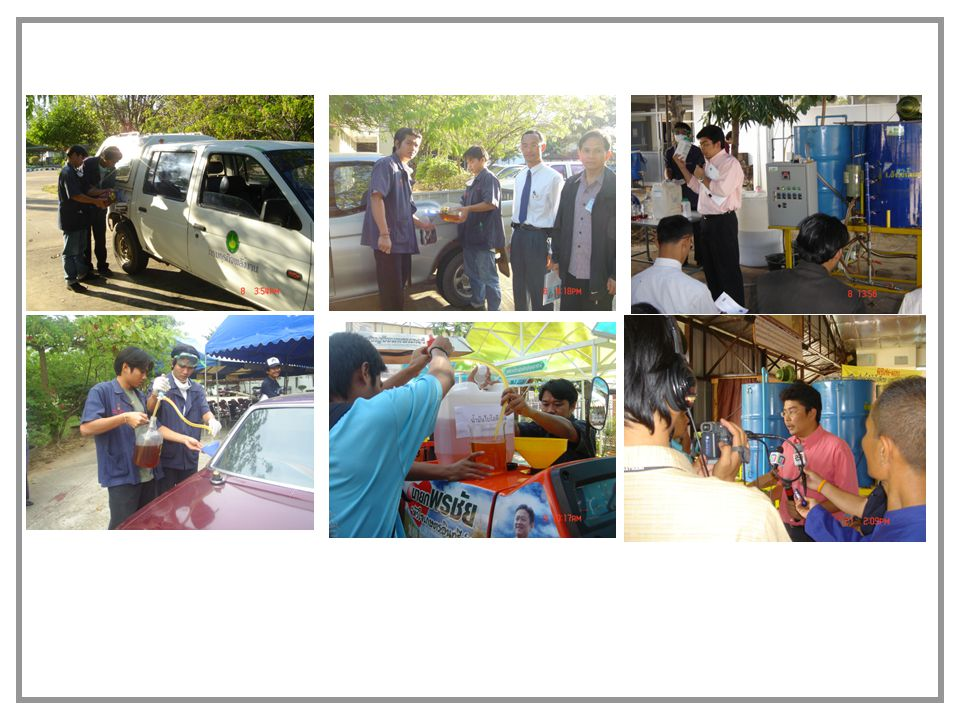 Other example of successful cases Council of Ubon Provice, Ubon Ratchathani, Thailand 150 L/batch, used cooking oil / CPO