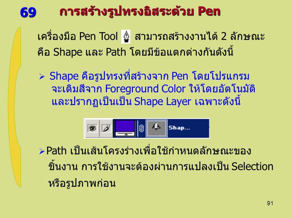 91 69 การสร้างรูปทรงอิสระด้วย Pen เครื่องมือ Pen Tool สามารถสร้างงานได้ 2 ลักษณะ คือ Shape และ Path โดยมีข้อแตกต่างกันดังนี้  Path เป็นเส้นโครงร่างเพื่อใช้กำหนดลักษณะของ ชิ้นงาน การใช้งานจะต้องผ่านการแปลงเป็น Selection หรือรูปภาพก่อน  Shape คือรูปทรงที่สร้างจาก Pen โดยโปรแกรม จะเติมสีจาก Foreground Color ให้โดยอัตโนมัติ และปรากฏเป็นเป็น Shape Layer เฉพาะดังนี้
