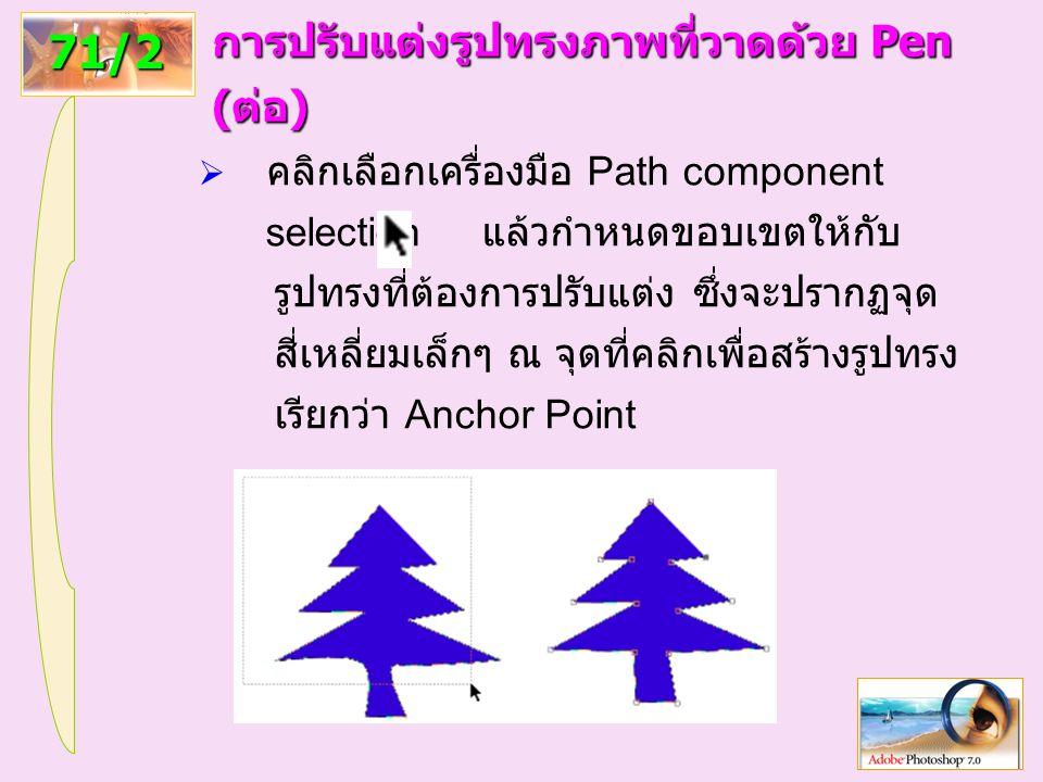 94 71/2 การปรับแต่งรูปทรงภาพที่วาดด้วย Pen (ต่อ)  คลิกเลือกเครื่องมือ Path component selection แล้วกำหนดขอบเขตให้กับ รูปทรงที่ต้องการปรับแต่ง ซึ่งจะปรากฏจุด สี่เหลี่ยมเล็กๆ ณ จุดที่คลิกเพื่อสร้างรูปทรง เรียกว่า Anchor Point