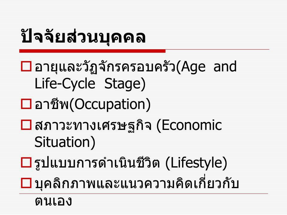 ปัจจัยส่วนบุคคล  อายุและวัฏจักรครอบครัว (Age and Life-Cycle Stage)  อาชีพ (Occupation)  สภาวะทางเศรษฐกิจ (Economic Situation)  รูปแบบการดำเนินชีวิ