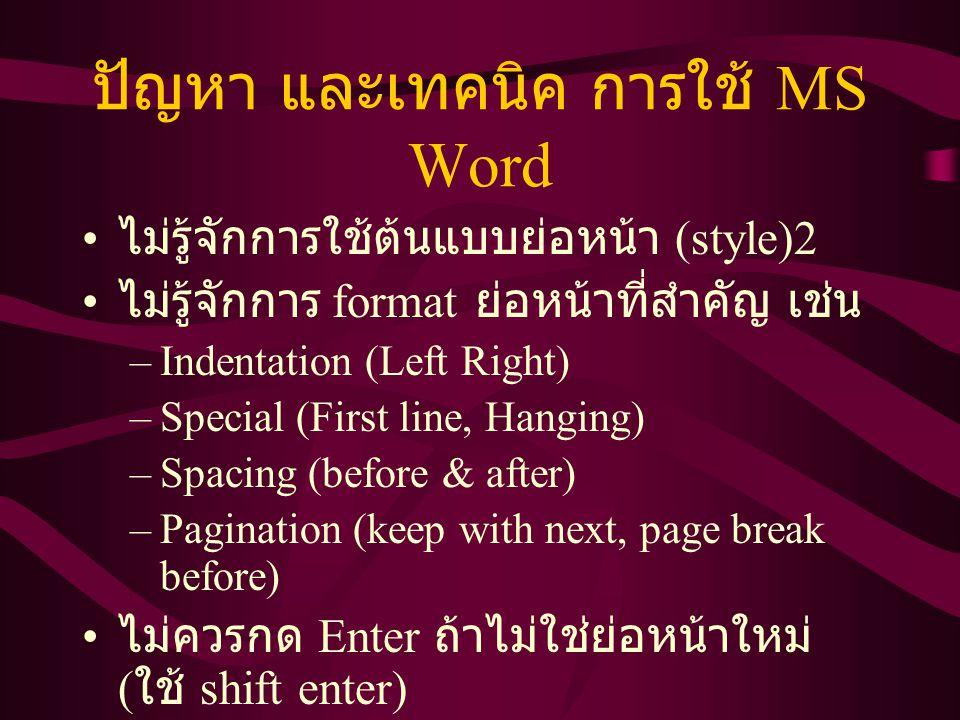 ปัญหา และเทคนิค การใช้ MS Word ไม่รู้จักการใช้ต้นแบบย่อหน้า (style)2 ไม่รู้จักการ format ย่อหน้าที่สำคัญ เช่น –Indentation (Left Right) –Special (Firs