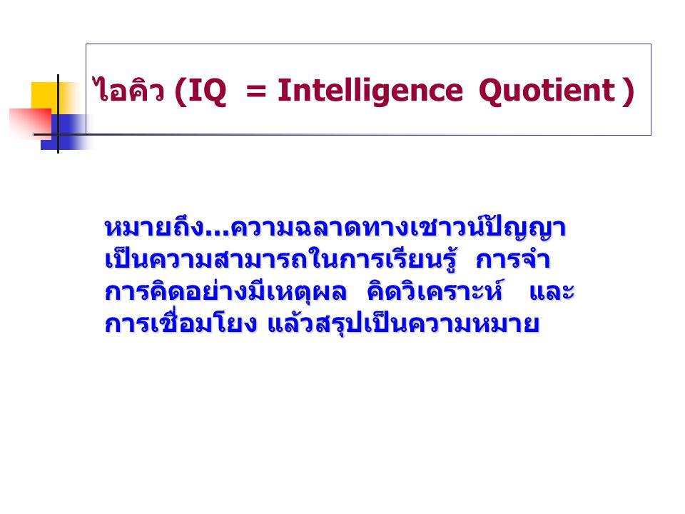 ไอคิว (IQ = Intelligence Quotient ) หมายถึง...ความฉลาดทางเชาวน์ปัญญา เป็นความสามารถในการเรียนรู้ การจำ การคิดอย่างมีเหตุผล คิดวิเคราะห์ และ การเชื่อมโ
