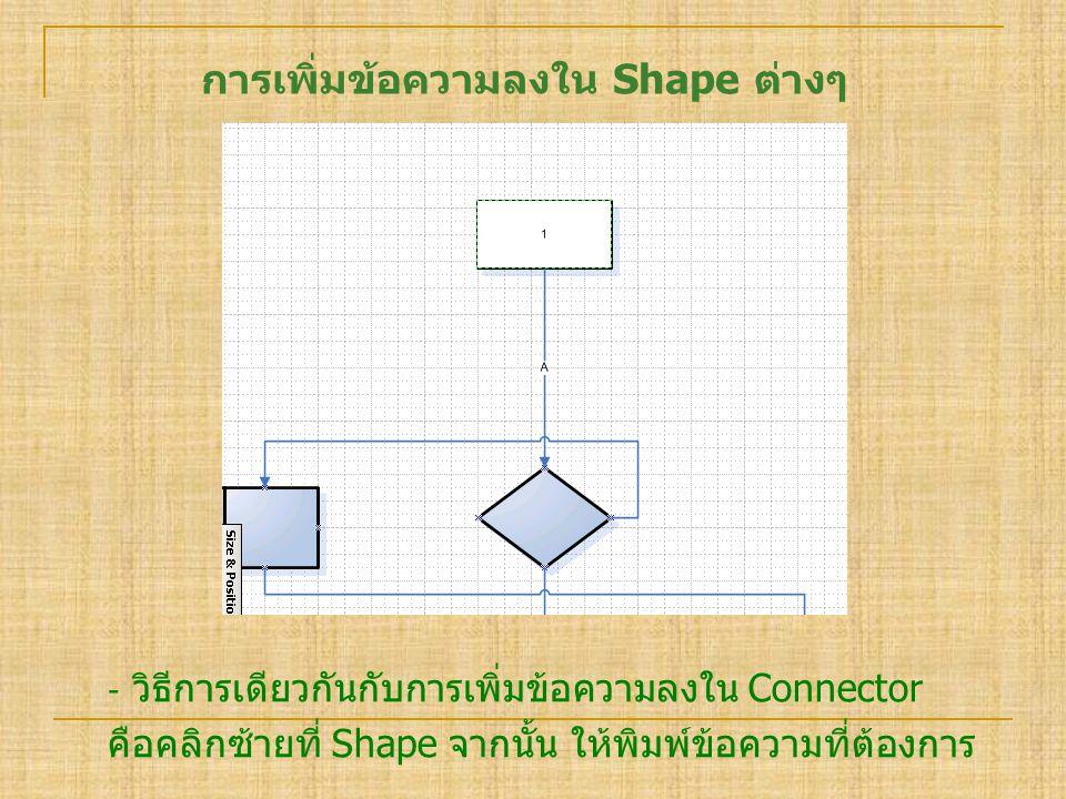 การเพิ่มข้อความลงใน Shape ต่างๆ ‐ วิธีการเดียวกันกับการเพิ่มข้อความลงใน Connector คือคลิกซ้ายที่ Shape จากนั้น ให้พิมพ์ข้อความที่ต้องการ