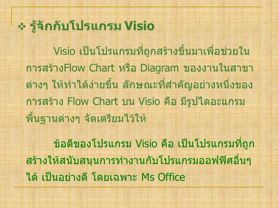  รู้จักกับโปรแกรม Visio Visio เป็นโปรแกรมที่ถูกสร้างขึ้นมาเพื่อช่วยใน การสร้างFlow Chart หรือ Diagram ของงานในสาขา ต่างๆ ให้ทำได้ง่ายขึ้น ลักษณะที่สำ