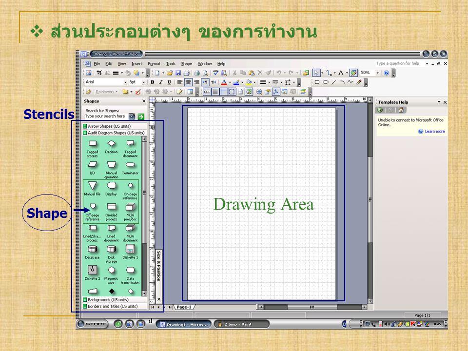  ส่วนประกอบต่างๆ ของการทำงาน Stencils Drawing Area Shape