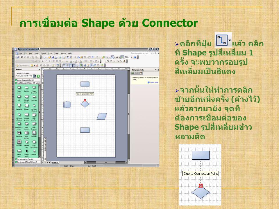 การเชื่อมต่อ Shape ด้วย Connector  คลิกที่ปุ่ม แล้ว คลิก ที่ Shape รูปสี่เหลี่ยม 1 ครั้ง จะพบว่ากรอบรูป สี่เหลี่ยมเป็นสีแดง  จากนั้นให้ทำการคลิก ซ้า