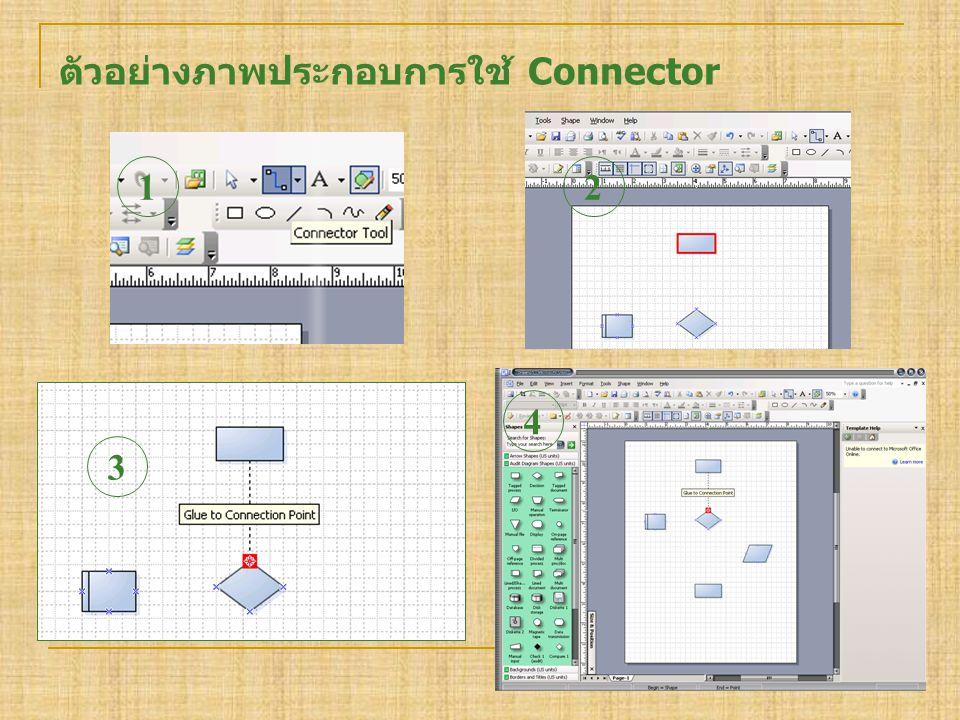 ตัวอย่างภาพประกอบการใช้ Connector 1 3 2 4