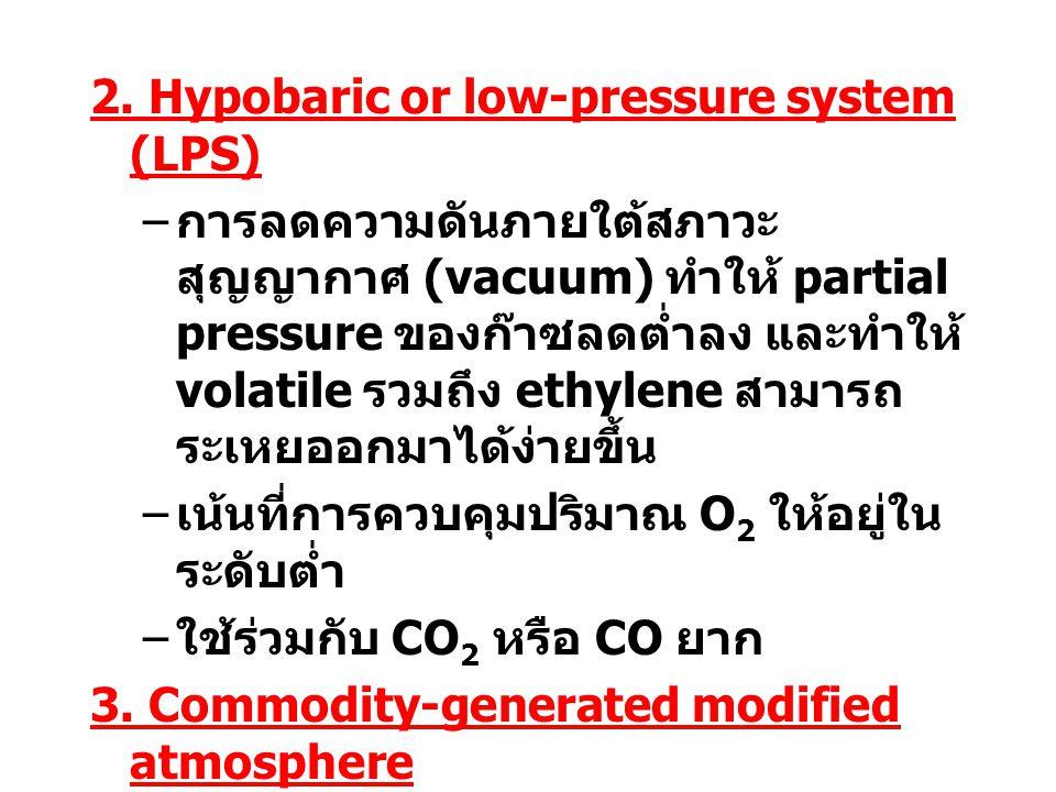 2. Hypobaric or low-pressure system (LPS) – การลดความดันภายใต้สภาวะ สุญญากาศ (vacuum) ทำให้ partial pressure ของก๊าซลดต่ำลง และทำให้ volatile รวมถึง e