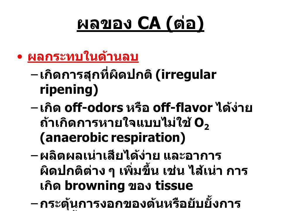 ผลของ CA ( ต่อ ) ผลกระทบในด้านลบ – เกิดการสุกที่ผิดปกติ (irregular ripening) – เกิด off-odors หรือ off-flavor ได้ง่าย ถ้าเกิดการหายใจแบบไม่ใช้ O 2 (an