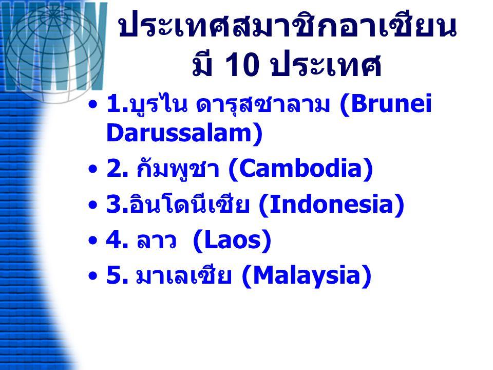 ประเทศสมาชิกอาเซียนมี 10 ประเทศ ( ต่อ ) 6.สหภาพพม่า (Union of Myanmar) 7.