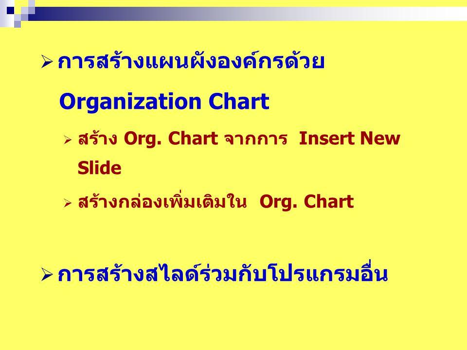  การสร้างแผนผังองค์กรด้วย Organization Chart  สร้าง Org.