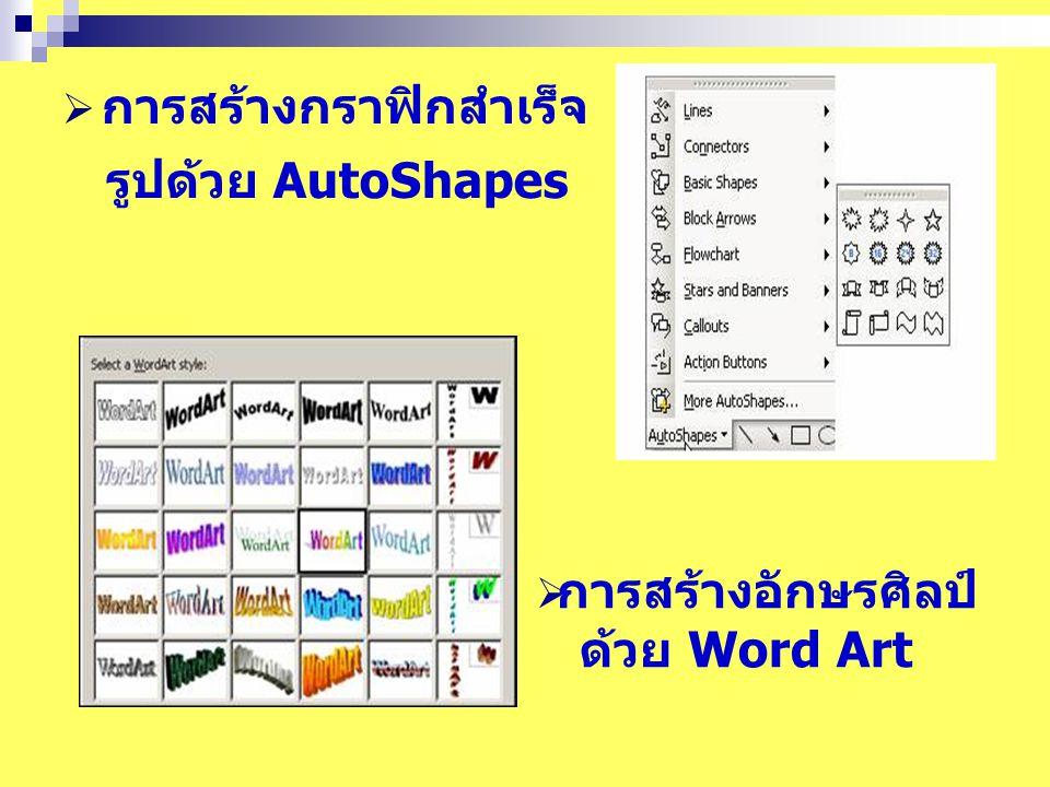  การสร้างกราฟิกสำเร็จ รูปด้วย AutoShapes  การสร้างอักษรศิลป์ ด้วย Word Art