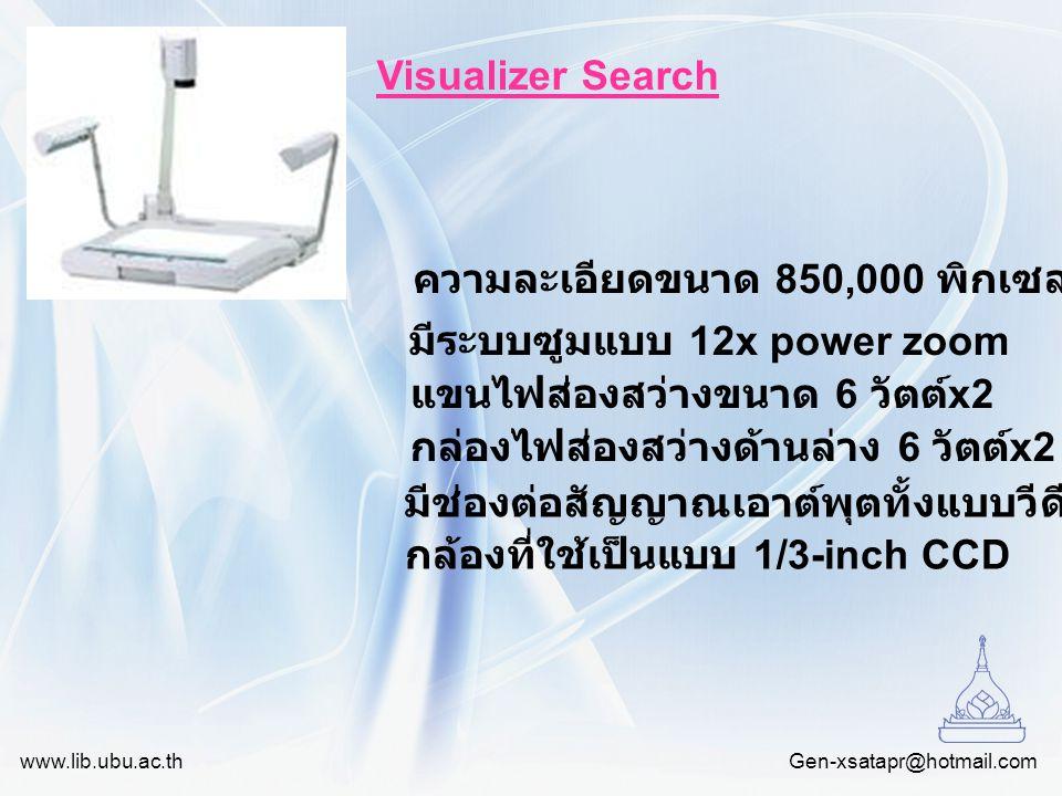 Gen-xsatapr@hotmail.com www.lib.ubu.ac.th Visualizer Search ความละเอียดขนาด 850,000 พิกเซล มีระบบซูมแบบ 12x power zoom แขนไฟส่องสว่างขนาด 6 วัตต์ x2 ก