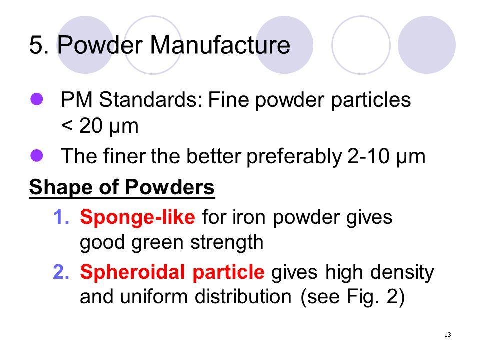13 5. Powder Manufacture PM Standards: Fine powder particles < 20 µm The finer the better preferably 2-10 µm Shape of Powders 1.Sponge-like for iron p
