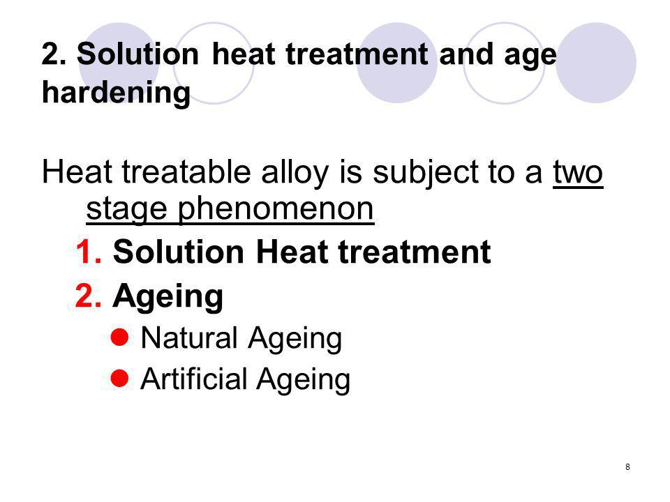 8 2. Solution heat treatment and age hardening Heat treatable alloy is subject to a two stage phenomenon 1.Solution Heat treatment 2.Ageing Natural Ag