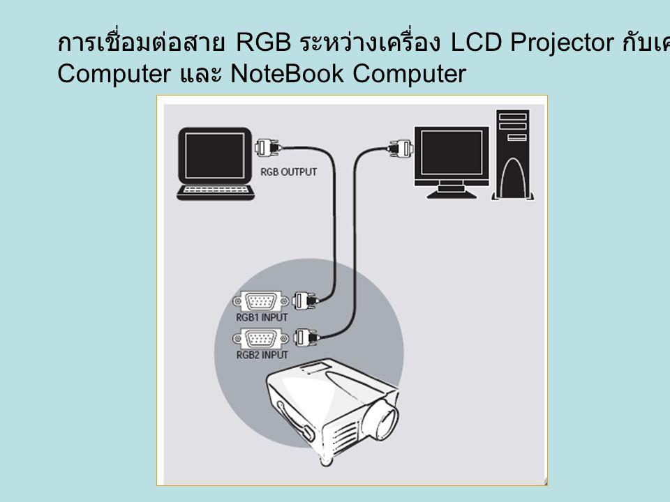 การเชื่อมต่อสาย RGB ระหว่างเครื่อง LCD Projector กับเครื่อง PC Computer และ NoteBook Computer