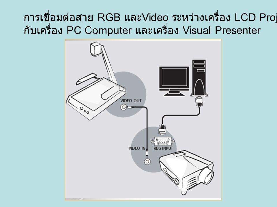 การเชื่อมต่อสาย RGB และ Video ระหว่างเครื่อง LCD Projector กับเครื่อง PC Computer และเครื่อง Visual Presenter