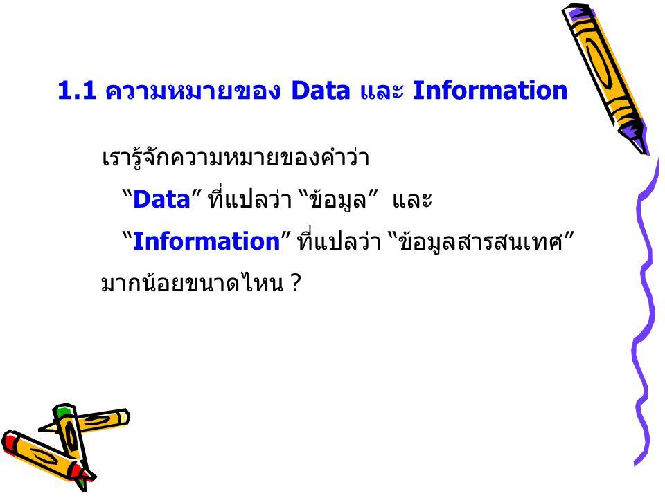 ข้อมูลดิบ (DATA) ข้อมูลสารสนเทศ (Information) ความรู้ (Knowledge) DATA: บันทึกที่แสดงถึงความเคลื่อนไหวในกิจกรรมประเภทต่างๆ เป็นบันทึก ที่ยังไม่มีความหมายในตัวของมันเอง คุณค่าอยู่ที่: ความทันเหตุการณ์, ความรวดเร็ว และความจุ/ปริมาณ INFORMATION: แสดงความหมาย (Meaning) โดย แสดงความสัมพันธ์ (Correlation) แสดงรูปแบบ (Pattern) ซึ่งขึ้นอยู่ กับเวลา อยู่ภายใต้บริบทที่แน่นอน KNOWLEDGE: ส่วนผสมของประสบการณ์ ค่านิยม ความเชี่ยวชาญ ซึ่งใช้เป็นกรอบในการ ตัดสินใจได้ คุณค่าของความรู้จึงวัดที่ผลของการ กระทำ