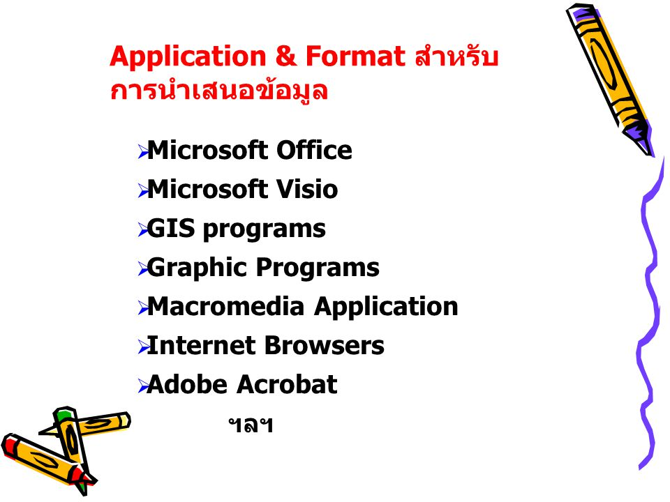 Application & Format สำหรับ การนำเสนอข้อมูล  Microsoft Office  Microsoft Visio  GIS programs  Graphic Programs  Macromedia Application  Internet