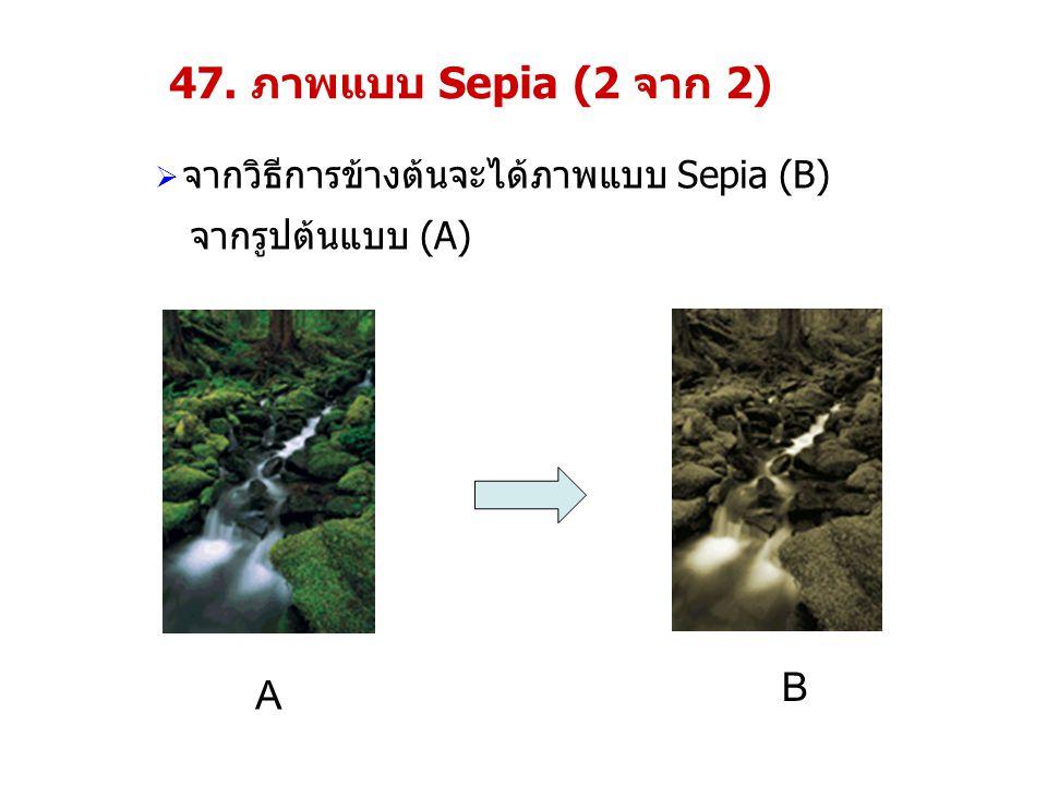 47. ภาพแบบ Sepia (2 จาก 2)  จากวิธีการข้างต้นจะได้ภาพแบบ Sepia (B) จากรูปต้นแบบ (A) A B