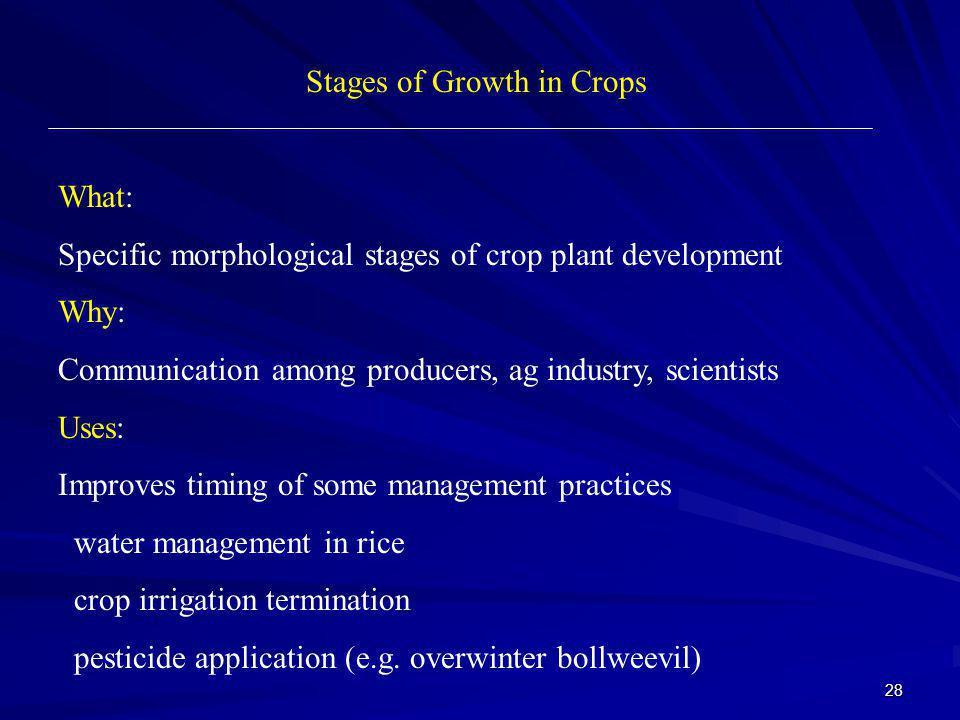 28 Stages of Growth in Crops What: Specific morphological stages of crop plant development Why: Communication among producers, ag industry, scientists