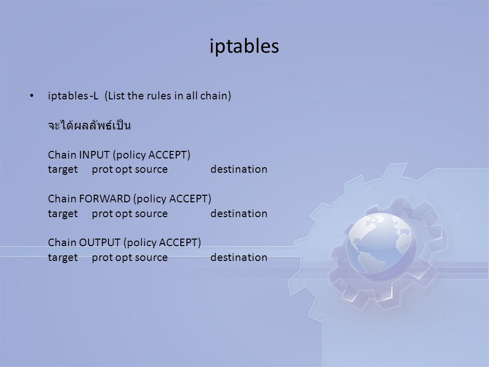 ประกอบด้วย Chain จำนวน 3 Chain INPUT คือ Packet ที่วิ่งเข้ามายังเครื่อง Server ทั้งทางขา LAN และขา WAN FORWARD คือ Packet ที่วิ่งผ่าน Server จากทาง LAN --> WAN และ จาก WAN -- > LAN OUTPUT คือ Packet ที่วิ่งออกจากเครื่อง Server ทั้งทางขา LAN และขา WAN