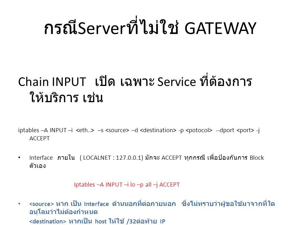 กรณี Server ที่ไม่ใช่ GATEWAY Chain INPUT เปิด เฉพาะ Service ที่ต้องการ ให้บริการ เช่น iptables –A INPUT –i –s –d -p --dport -j ACCEPT Interface ภายใน